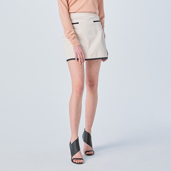 [SUZANNE] A-LINE TAPING SKIRT CREAM