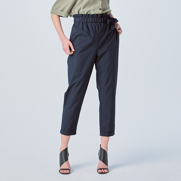 RIBBON BELTED BAGGY PANTS