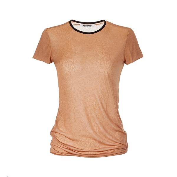 [에레우노] Womens Short Sleeve T-Shirt Camel