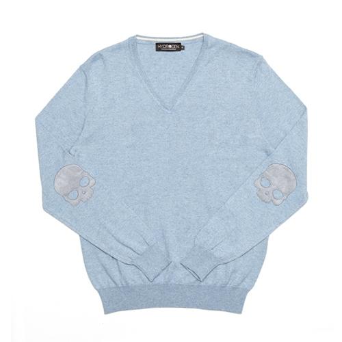 [하이드로겐] 브이넥 코튼&캐시미어 라이트 블루멜란지 H-160102