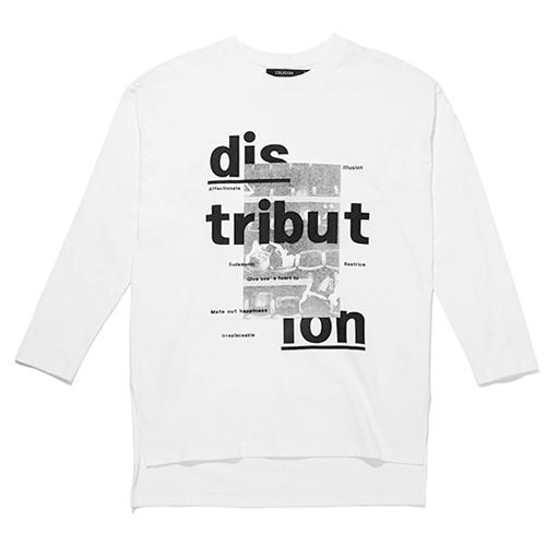 [셀렉온]우먼 롱 슬리브 디스트리뷰션 프린트 티셔츠화이트 VE3TL242
