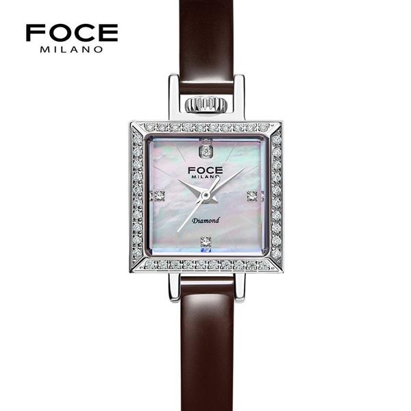 포체밀라노 18mm 여성 다이아몬드 가죽시계 FM1912L-WH