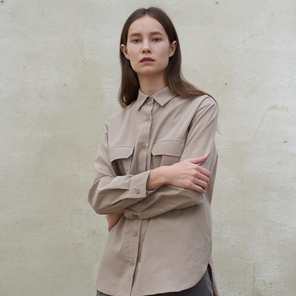 [아유] pocket shirt-grey