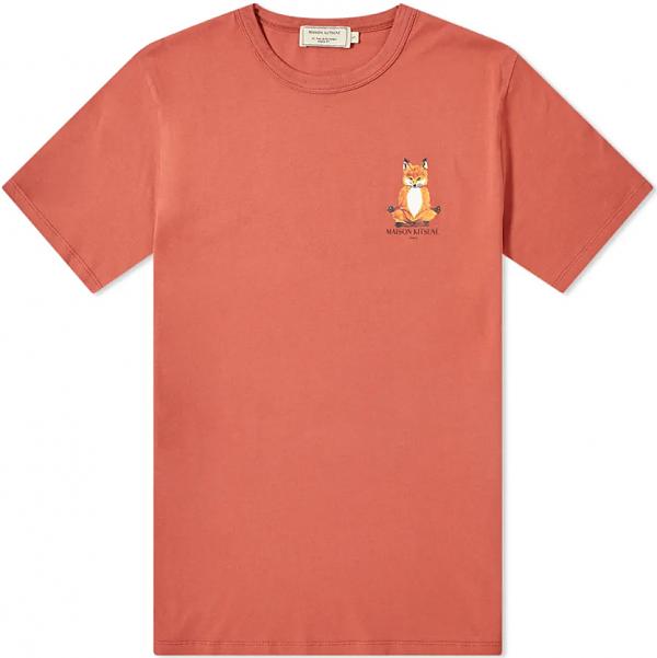메종키츠네 LOTUS 요가 폭스 프린팅 티셔츠 남성 반팔티 다크핑크 EU00151KJ0008 DP