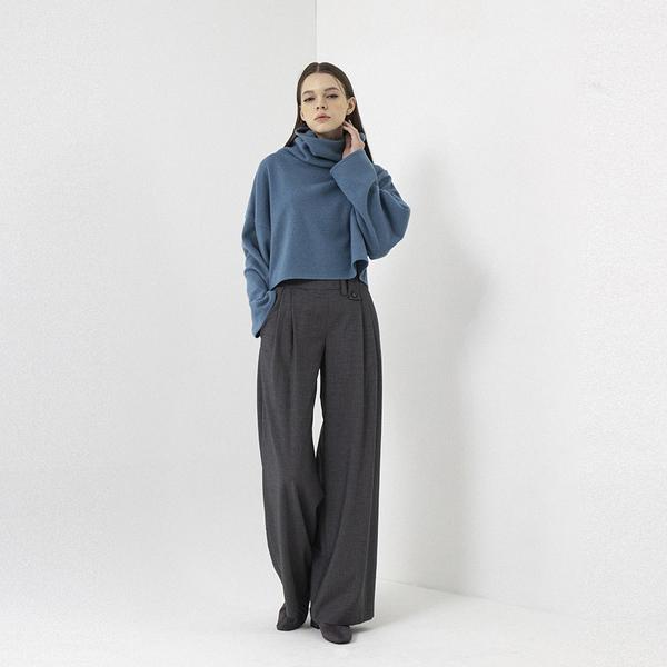 Grey Belt Loop Detailed Wide Leg Trousers