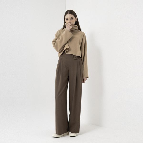 Brown Belt Loop Detailed Wide Leg Trousers