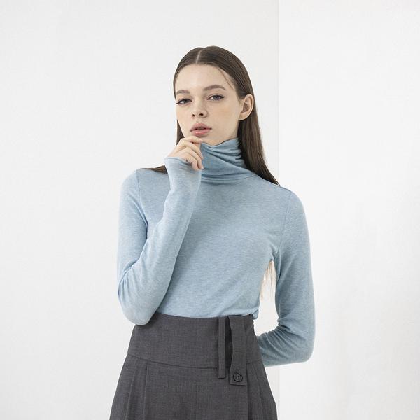 Baby Blue Wool Turtleneck Top
