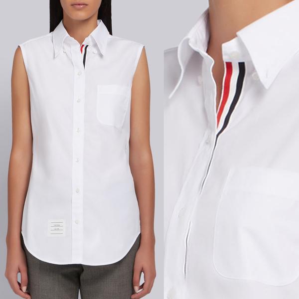 21SS 톰브라운 여성 히든 삼선 그로그랭 민소매 포플린 셔츠 화이트 FLL012E 03113 100