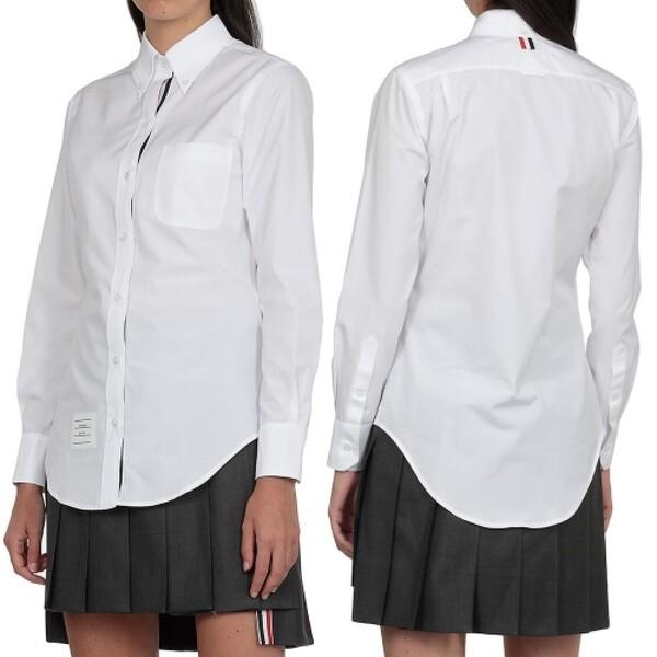 21SS 톰브라운 여성 클래식 히든삼선 삼선탭 버튼다운 솔리드 포플린 긴팔 셔츠 화이트 FLL005E 03113 100