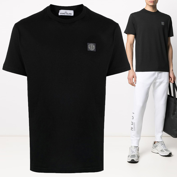 21SS 체스트 로고 패치 티셔츠 블랙 741523757 V0029