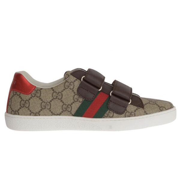 구찌 GG 슈프림 벨크로 에이스 키즈 스니커즈 여성 신발 베이지 브라운 463091 9C220 9797