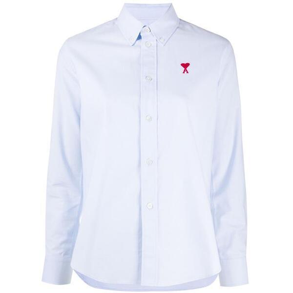 21SS 아미 BFFC050 / 하트 자수 로고 버튼다운 옥스포드 셔츠