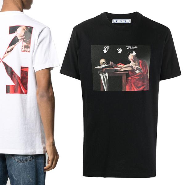21SS 오프화이트 카라바조 애로우 티셔츠 2종 택 일 OMAA027R21JER004