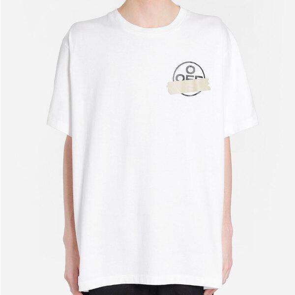 오프화이트 테이프 애로우 오버 반팔 티셔츠 남성 반팔티 화이트 20SS OMAA038R201850020148
