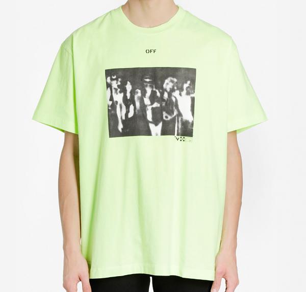 오프화이트 스프레이 애로우 오버 반팔 티셔츠 남성 반팔티 그린 형광 20SS OMAA038R201850156210