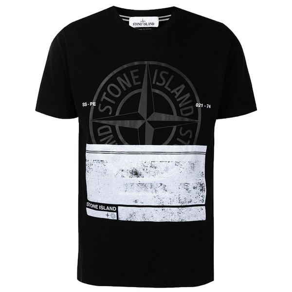 스톤아일랜드 21SS 블럭 로고 프린팅 티셔츠 블랙 74152NS65 V0029