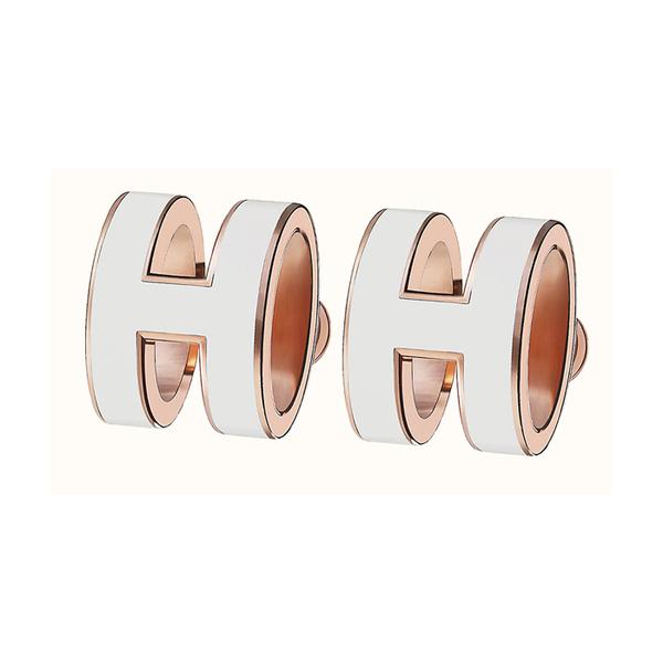 에르메스 팝아슈 귀걸이 화이트/로즈골드 H608001FO