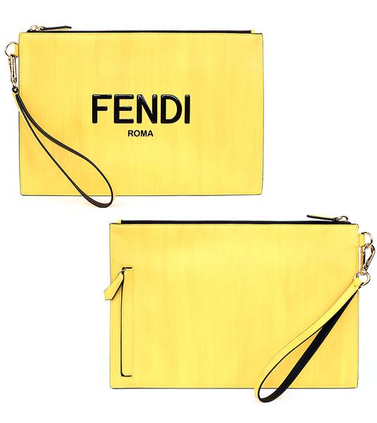 펜디 로고 옐로우 클러치 백 7N0110 ADP6 F1CIA